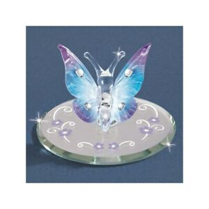 Blue Butterfly w/Crystals Glass Figurine
