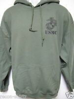 USMC HOODED SWEATSHIRT/with text underneath/MILITARY OD GREEN COLOR/ HOODIE/ NEW