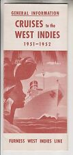1951 BROCHURE - CRUISES TO THE WEST INDIES - FURNESS WEST INDIES LINE