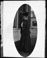 Antique 4x5 Glass Plate Negative Portrait of a Women in Period Dress (V4435)