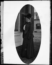 Antique 4x5 Glass Plate Negative Portrait of a Women in Period Dress (V4435)