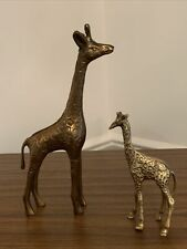 New listing Vintage Solid Brass Giraffe Figurines- Mother And Baby