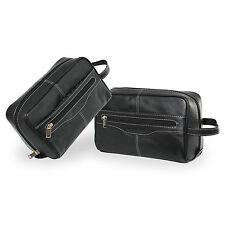 Pierre Cardin 100% Leather Travel Washbag Toiletry Bag - Black / 18152