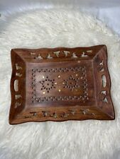 Rusticity HAND CARVED Inlaid Brass Wood INDIA Rectangular Handmade WOODEN TRAY