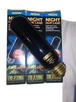 Exo Terra Night Heat Lamp Bulb - Reptile Terrarium Black Night Vision Light NEW