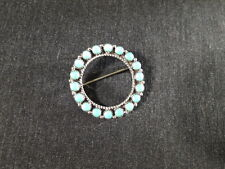 E.L Lonasee Zuni Petit Point Pin Brooch Pendant Turquoise Sterling Silver