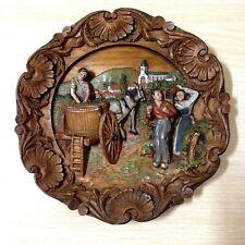 Assiette imitation bois sculpté - Décoration murale - Décoré main - Vendanges
