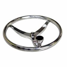 """Boat Stainless Steering Wheel 3 Spoke 13-1/2"""" Dia with 5/8"""" Nut and Knob"""
