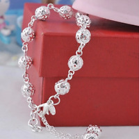 Fashion Women 925 Silver Plated Hollow Beads Bangle Chain Charm Bracelet Jewelry