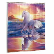 Cute Unicorn Horse Waterproof Shower Curtain Bath Wall Hangings with Hooks