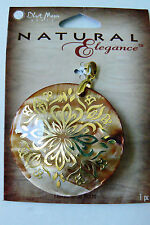 Natural Elegance Mother of  Pearl Shell Gold tone inlay round coin  pendant