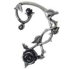 Blooming Black Rose Thorny Vine Left Ear Wrap Pewter Earring Alchemy Gothic E410