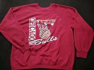 Vintage Chicago Bulls Crewneck Sweatshirt Men's Size 2XL Destroyed Thin Raglan