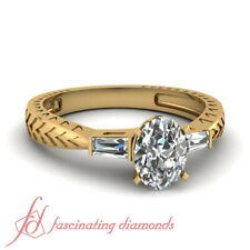 .70 Carat Oval Shaped 3 Stone Antique Looking Style Baguette Diamond Ring GIA