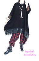 MYO-Lagenlook A-Linie-Long-Shirt Material-Mix Mesh& Jersey 44,46,48,50,52,54,56