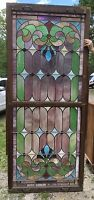 STAINED GLASS DOUBLE HUNG WINDOW