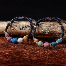 Natural Lava Stone Bracelet Beaded Wrap Colorful Women Men's Cuff Friendship