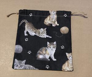 Cat Kitten Pattern Handmade Drawstring Christmas Gift Bag