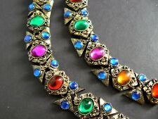 Vintage Necklace Bracelet Set Egyptian Revival Gold Tone Multicolor Cabohon