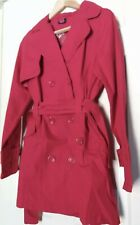 size 10  Ladies  Red belted trench Coat Mac