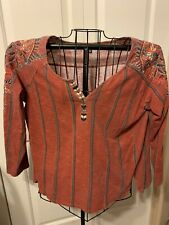 Women's Clothing Hannah Embroidered Blouse Shirt Top Size L