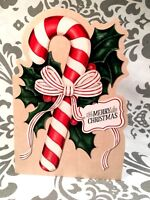 Vintage 60-70's Glittered Merry Christmas Candy Cane Card New w/Envelope Unused