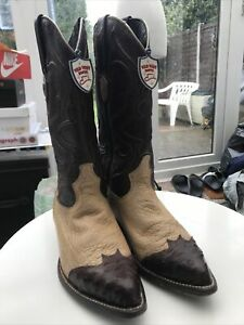 WILD WEST BOOTS BROWN SMOOTH OSTRICH LEATHER WESTERN COWBOY J-TOE (EE) US 7.5