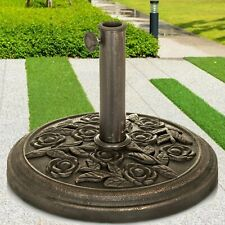 CAST IRON ROUND UMBRELLA PARASOL BASE STAND PATIO OUTDOOR GARDEN HEAVY DUTY 9KG