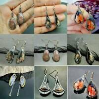 Fashion Woman 925 Silver Gemstone Earrings Ear Hook Dangle Drop Jewelry Gifts