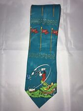 "Disney Mickey Unlimited Goofy Golf ""Going for Birdie"" Blue Classic Neck Tie"