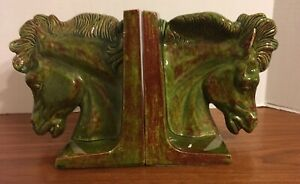 Vintage Horse Head Bookends Pottery Ceramic Green Brown Home Decor Animal