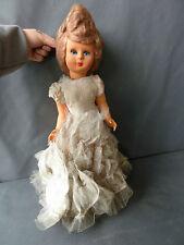 Antigua Muñeca de Plástico Con Vestido Novia,Juguete Vintage Francesa Antique