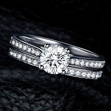 Womens Gemstone CZ Wedding Engagement Ring Set Band Rings Jewelry 2pcs  Size 9