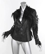 RICK OWENS x REVILLON Womens Black Leather+Pony Hair Long-Sleeve Jacket 42/6