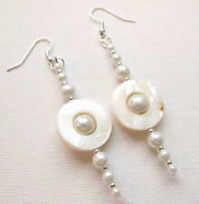Mother of Pearl Shell Donut Dangle Silver Plated Earrings Jellybean