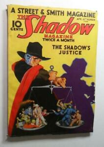 VINTAGE SHADOW PULP APRIL 15 1933 SHADOW'S JUSTICE WALTER B GIBSON CLASSIC COVER