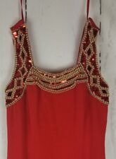EVER BEAUTY Dress size 6 Red Gold Beaded Sequins Long formal Gown