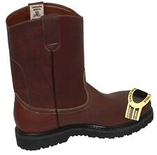 MEN'S STEEL TOE WORK BOOTS PULL ON SAFETY GENUINE LEATHER  OIL RESISTANT