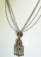 Adorable Vintage Rhinestone Multi Chain Choker Necklace with Dangle Pendant