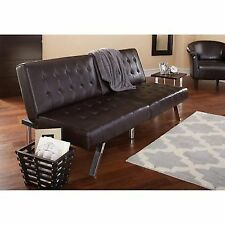 Mainstays Faux Leather Tufted Convertible Futon Brown
