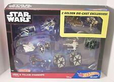 Hot Wheels Star Wars HERO & VILLAIN STARSHIPS 11Pk GOLD Slave 1 + MF DIECAST NIP