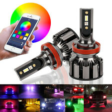 H8 H9 H11 72W Car LED RGB Headlight Kit Phone APP Bluetooth Control Bulb Lamp