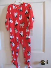 Nwt Girls Or Boys Carters 3T Soft Blanket Sleeper Red With Dog Print Zip Up