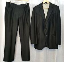 Vintatge Trego's Western 40L Jacket 34 Pants Black Rockabilly Disco Suit *Euc!