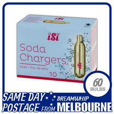 SAME DAY POSTAGE ISI SODA CHARGERS 10 PACK X 6 (60 BULBS) SYPHON CO2 SELTZER