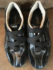 Skechers Womens Size 8 Adjustable Straps Black Tennis Shoes Fast Free Shipping