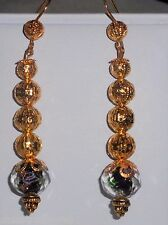 Black Faceted Lampwork Lavender Rose & Gold Tone Filigree Beads Dangle Earrings