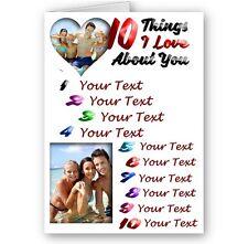 10 things i love vous concernant, personnalisé photo et texte A5 tous occasion carte
