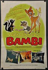 "BAMBI R-1966 ORIG 27X41 STYLE ""B"" 1-SHEET MOVIE POSTER HARDIE ALBRIGHT DISNEY"