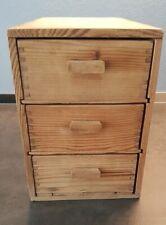 Mini cassettiera in legno grezzo, 3 cassetti